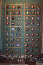 Each rack is filled with different Christmas Ornaments