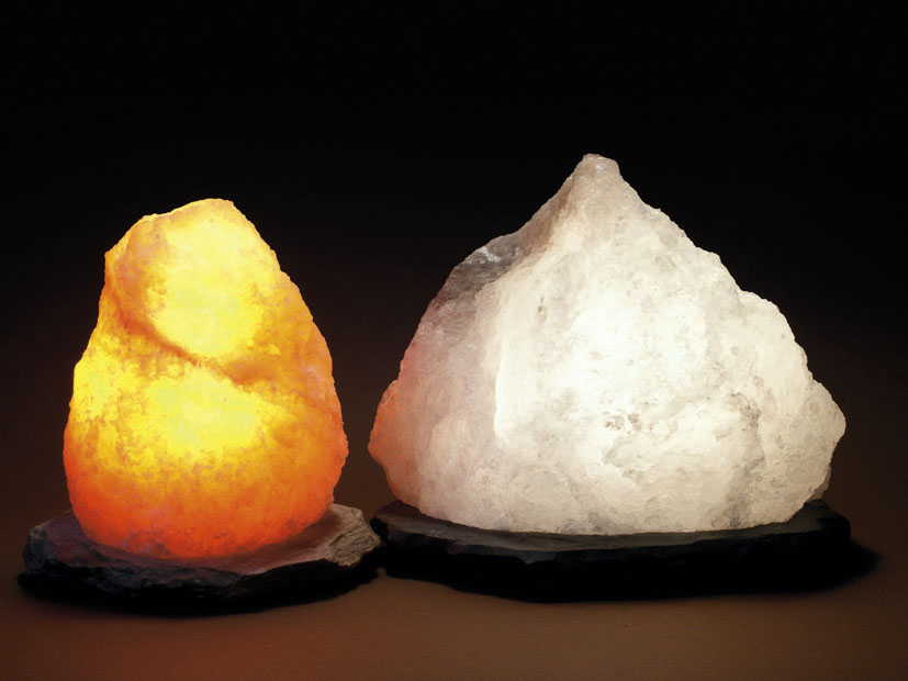 Salt Crystal Lamps, Carved Shapes And Candle Holders From Poland