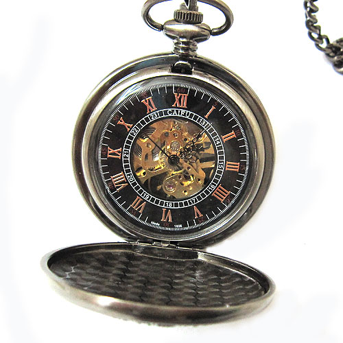 black roman pocket watch